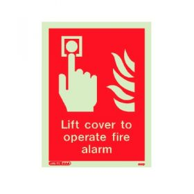 Jalite 6131D Lift Cover To Operate Fire Alarm Sign - 150 x 200mm