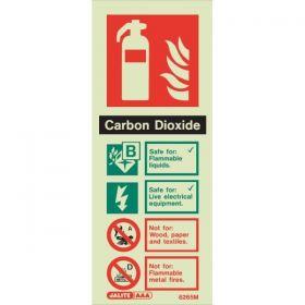 6265M Jalite Rigid PVC Photoluminescent Carbon Dioxide (CO2) Extinguisher ID Sign 80 x 200mm
