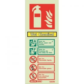 Jalite 6267M Rigid PVC Photoluminescent Wet Chemical Extinguisher ID Sign 80 x 200mm