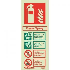 6361M Jalite Rigid PVC Photoluminescent Foam Extinguisher ID Sign 80 x 200mm