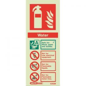 6362M Jalite Rigid PVC Photoluminescent (Glow In The Dark) Water Extinguisher ID Sign 80 x 200mm