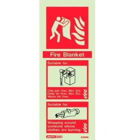 Jalite 6366M Rigid PVC Photoluminescent Fire Blanket ID Sign 80 x 200mm