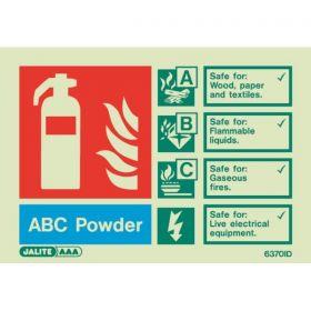6370ID Jalite Rigid PVC Photoluminescent ABC Powder Extinguisher ID Sign 150 x 105mm