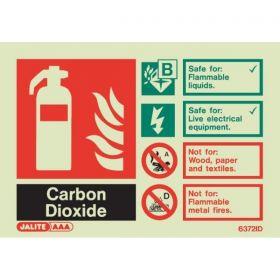 Jalite 6372ID Rigid PVC Photoluminescent Carbon Dioxide Extinguisher ID Sign 150 x 105mm
