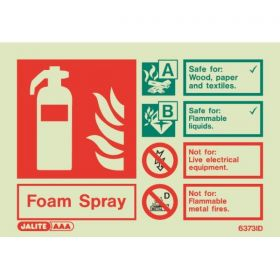 6373ID Jalite Rigid PVC Photoluminescent Foam Extinguisher ID Sign 150 x 105mm