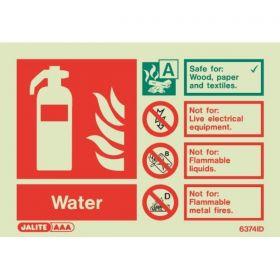 6374ID Jalite Rigid PVC Photoluminescent Water Extinguishers ID Sign 150 x 105mm