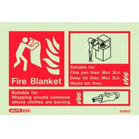 Jalite 6376ID Photoluminescent Fire Blanket ID Sign 150 x 105mm