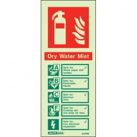 Jalite 6378M Dry Water Mist Fire Extinguisher ID Sign Photoluminescent 80 x 200mm