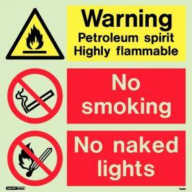 Jalite 7389Q Warning Petroleum Spirit Highly Flammable Sign