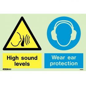 Jalite 7495DD Photoluminescent High Sound Levels Wear Ear Protection Sign 200 x 300mm