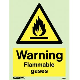 Jalite 7590D Photoluminescent Warning Flammable Gases Sign 200 x 150mm