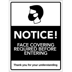 Covid-19 Notice! Face Covering Required Before Entering Sign - Self-Adhesive Vinyl - 300 x 400mm - 28585K