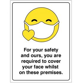 Covid Signage - Covid-19 You Are Required To Cover Your Face On These Premises Sign - Self-Adhesive Vinyl - 28938