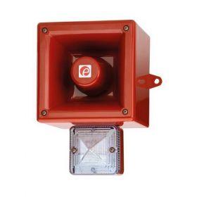 E2S AL105NXDC024R/C-F 24V DC Combined Horn Sounder & Xenon Beacon - Red Body Clear Lens