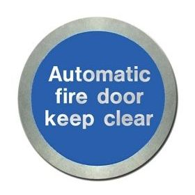 Jalite AL5141O Automatic Fire Door Keep Clear Disc - Aluminium With Self-Adhesive Backing