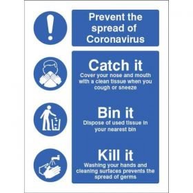 Prevent The Spread Of Coronavirus - Catch It Bin It Kill It Sign - Self-Adhesive Vinyl - 25028E