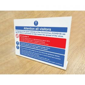 Coronavirus Guidance Desktop Sign For Building Visitors - 54993