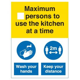 Coronavirus Maximum Number Of Persons To Use The Kitchen At A Time Sign - Slef-Adhesive Vinyl - COV052V
