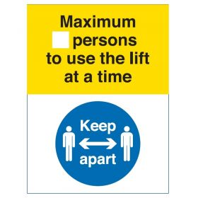 Coronavirus Maximum Number Of Persons To Use The Lift At A Time Sign - Rigid PVC - COV056R