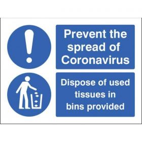 Prevent The Spread Of Coronavirus - Dispose Of Used Tissues In Bins Provided Sign - Self-Adhesive Vinyl - 25027E