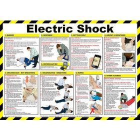 Electric Shock Safety Poster - A2 Laminated - 81/03281
