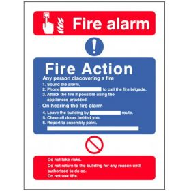 Fire Action Sign With Lift Information