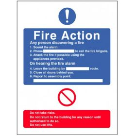 General Fire Action Sign With Lift Information
