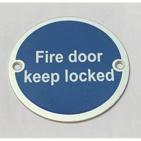 Frelan Fire Door Keep Locked Disc Sign - Satin Aluminium - JS101SAA