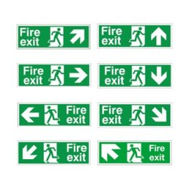 Fire Exit Signs - White - Rigid PVC