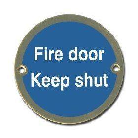 Fire Door Keep Shut Disc Sign - Polished Brass