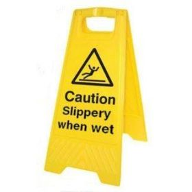 Caution Slippery When Wet Standing Warning Sign - Yellow