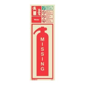 6399H Jalite Rigid PVC Photoluminescent Water Extinguisher Missing ID Sign 390 x 130mm