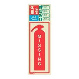 6396H Jalite Rigid PVC Photoluminescent ABC Powder Extinguisher Missing ID Sign 390 x 130mm