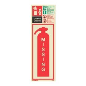 6397H Jalite Rigid PVC Photoluminescent Carbon Dioxide Extinguisher Missing ID Sign 390 x 130mm
