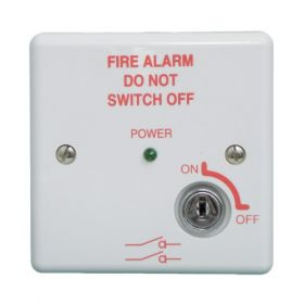 Haes MISW-W Fire Alarm Mains Isolation Keyswitch - White - BS5839 Compliant