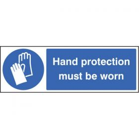 Hand Protection Must Be Worn Sign - Rigid Plastic - 15203G