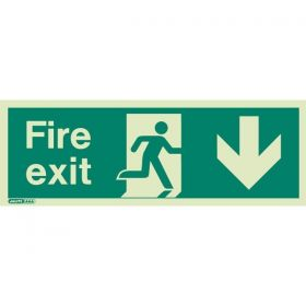 Jalite 437K Down Arrow Photoluminescent Fire Exit Sign (150 x 400mm)