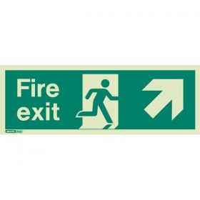 Jalite 438X Up Right Arrow Photoluminescent Fire Exit Sign (250 x 600mm)