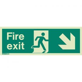 439K Down Right Arrow Photoluminescent Fire Exit Sign (150 x 400mm)