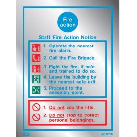 Polished Aluminium Metal Effect Fire Action Sign - Jalite ME5479DR