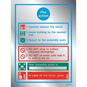 Jalite ME5537DR Fire Action Sign - Brushed Aluminium Effect