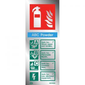 Polished Aluminium Metal Powder Fire Extinguisher ID Sign - Jalite ME6360MR