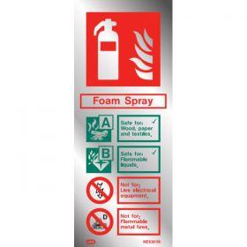 Polished Aluminium Metal Effect  Foam Fire Extinguisher ID Sign - Jalite ME6361MR