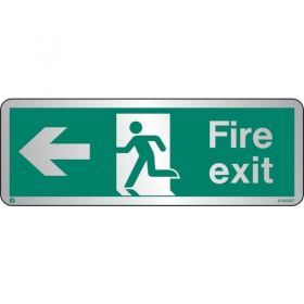 Jalite STB430T Brushed Stainless Steel Fire Exit Sign - Left Arrow 120 x 340mm