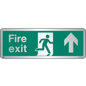 Jalite STB436T Brushed Stainless Steel Fire Exit Sign - Up Arrow 120 x 340mm