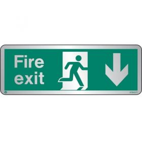 Jalite STB437T Brushed Stainless Steel Fire Exit Sign - Down Arrow 120 x 340mm
