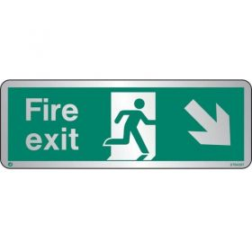 Jalite STB439T Brushed Stainless Steel Fire Exit Sign - Down Right Arrow 120 x 340mm