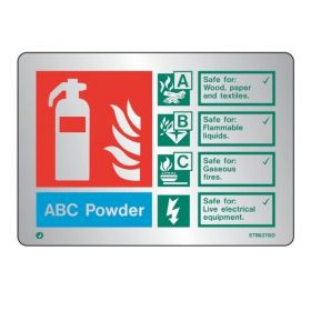 Brushed Stainless Powder Fire Extinguisher ID Sign - Jalite STB6370ID