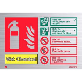 Brushed Stainless Wet Chemical Fire Extinguisher ID Sign - Jalite STB6407ID