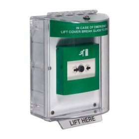 STI-13630EG Green Enviro Stopper With Emergency Exit Label and Integral Sounder